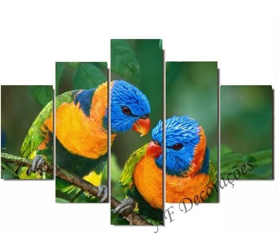 Quadro Decorativo 129x63 Árara Azul Mdf Mosaico Signo