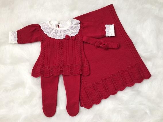 Saída Maternidade Bebê Menina Trico Vermelha Promoção