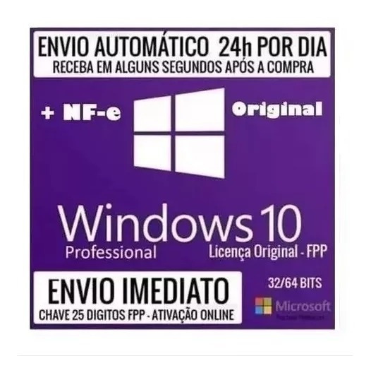 Windows 10 Pro Chave Key Licença Download Original Cm/nf-e