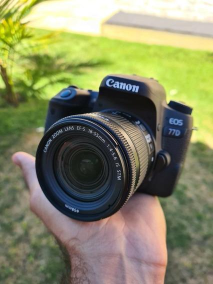 Canon 77d Pouco Usada + Lente 18-55 Is Stm 8.472 Clicks