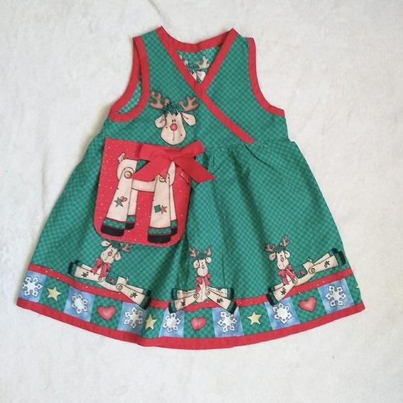 Vestido Navideño Hecho A Mano Sin Marca Talla 2 Años