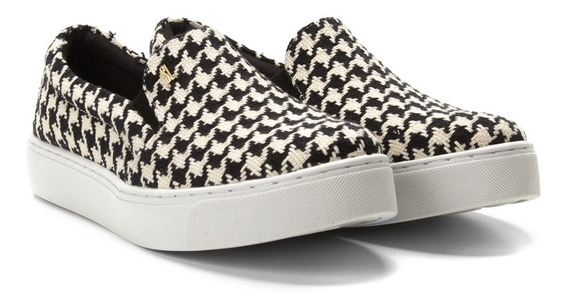 Slip On Santa Lolla Estampa Pied Poule Preto E Branco