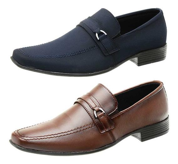 Sapato Social Masculino Fivela Nobuck Elegante - Com 2 Pares