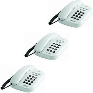 Kit Com 3 Telefones Com Fio Tc 500 Branco Intelbras