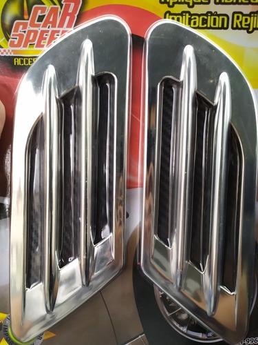 Rejillas Laterales Cromadas Para Carro Adhesivas X 2 Unidade