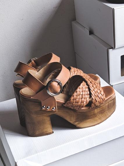 Zapatos Sandalias Mujer Plataforma Cuero