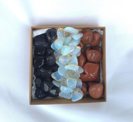 Coleção Caixa Com 1 Quilo Com Pedras Do Sol, Lua E Estrela