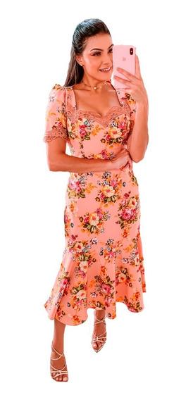 Vestido Midi Floral Com Babado Festa Moda Evangélica