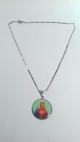 Cordão Aço Com Medalha Sagrado Coração De Jesus