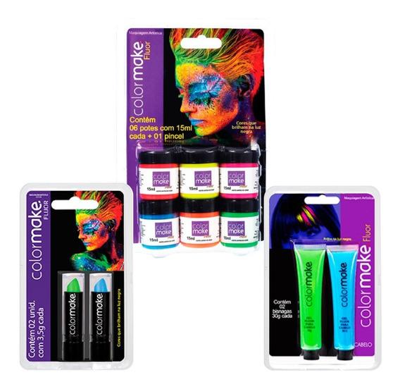 Kit 2 Gel P/ Cabelo + 6 Tintas Facial Líquida + 2 Batom Neon
