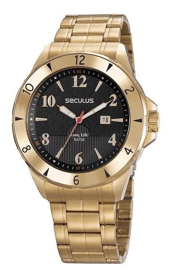 Relógio Analógico Masculino Dourado Seculus 23651gpsvda1