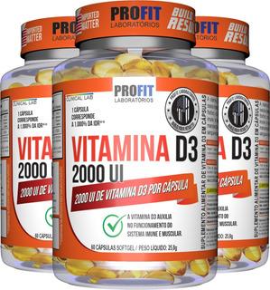 Kit 3x Vitamina D - Vit D3 2000ui 60 Cáps (180 Cáps) Profit