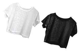 2x Top De Malla Blusa Gimnasia Camiseta Yoga Ciclismo Danza
