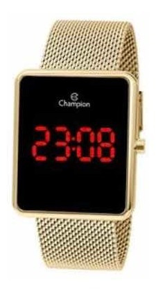 Relógio Champion Feminino Digital Quadrado Led Vermelho