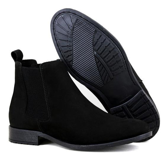Chelsea Boots Masculina Couro Nobuck Legitimo Cor Marron