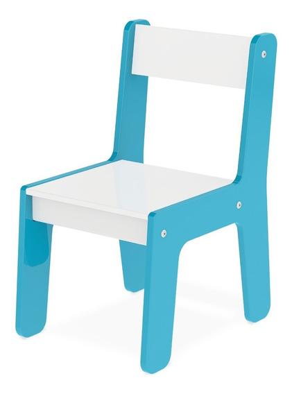 Cadeira Cadeirinha Infantil Azul Mdf Para Mesinha Junges 981