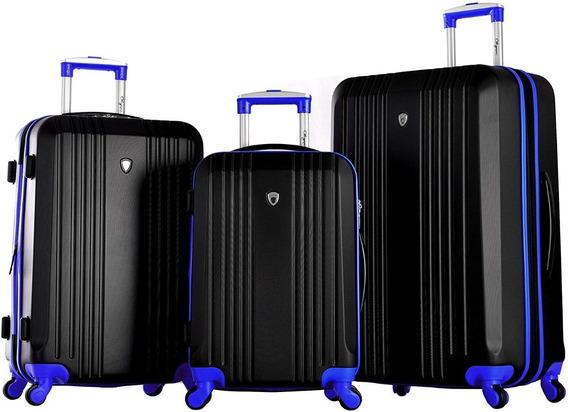 Set De Valijas X 3 Rigidas Negro/azul Resistentes