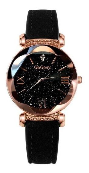 Relógio Feminino Céu Estrelado Elegante Luxo Gogoey Promoção