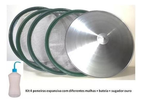 Kit 4 Peneiras Garimpo + Bateia + Sugador Ouro