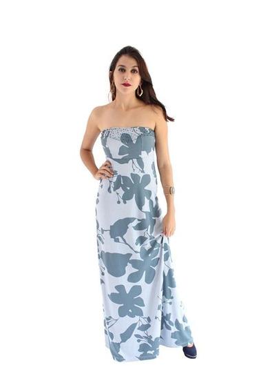 Vestido Tomara Que Caia Longo Azul