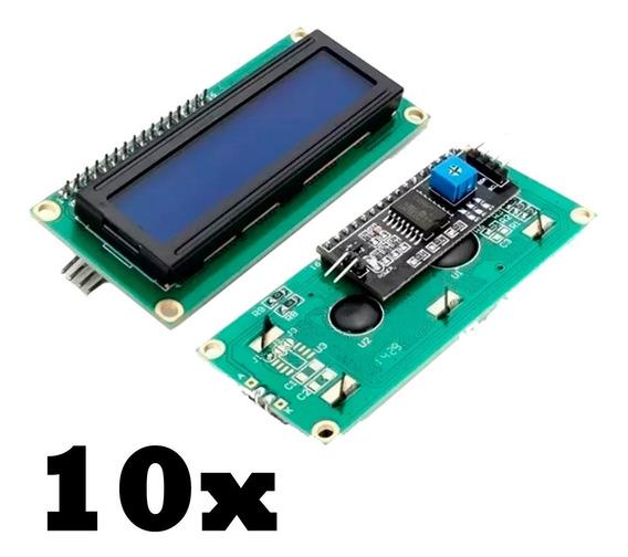 Kit 10x Display Lcd 16x2 I2c Azul Arduino Pronta Entrega