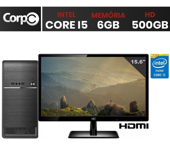 Computador Desktop Pc Cpu Intel Core I5 6gb Hd 500gb Monitor