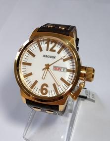 Relógio Masculino Dourado Magnum Pulseira De Couro Ma31524b.