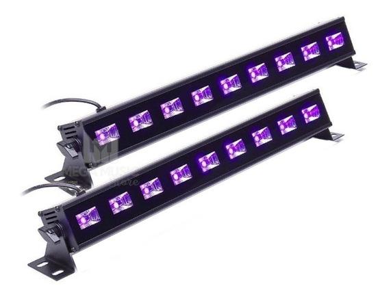 Kit 2 Luz Negra Ribalta Led Ultravioleta 27w Uv 9 Leds Barra