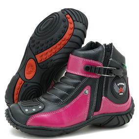 Bota Motociclista Com Ziper Atron Shoes Preto E Rosa