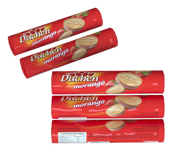 Biscoito Recheado Pacote Duchen Morango 135g 1 Unidade