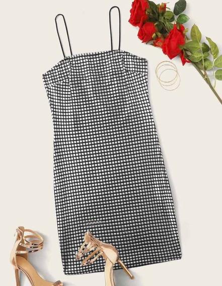 Vestido Cuadros Metálico Plata
