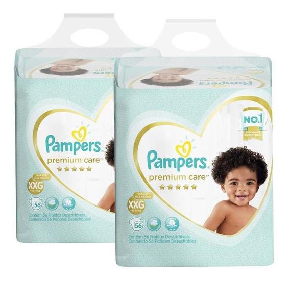 Kit Pampers Premium Care - 2 Pctes C/ 56 Unid Cada - Tam Xxg