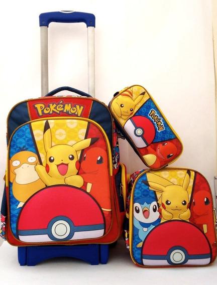 Mochila Pokémon Go Pikachu Primaria Con Carro, Lonch Y Lap