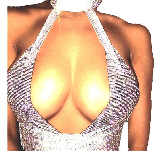 Top De Brillos Sexy V Cuello De Cristal De Diamante Mujeres