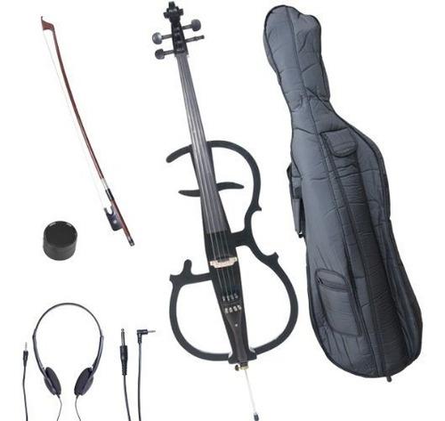 Cecilio 4/4 Ceco-2bk Cello Electrico Negro Metalico Con Acce