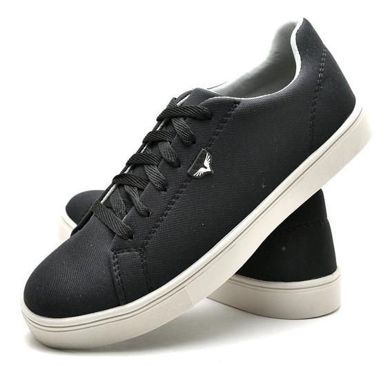Sapato Sapatênis Tênis Com Cadarço Preto