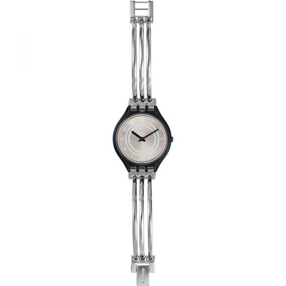 Relógio Swatch Skinbar Svom105b Metal Prata Original
