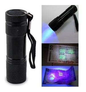 Linterna Uv Lampara Ultravioleta 9 Led Luz Negra Billetes Full.