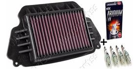 Kit Filtro Ar Esportivo K&n + Vela Ngk Iridium Honda Cb 650f