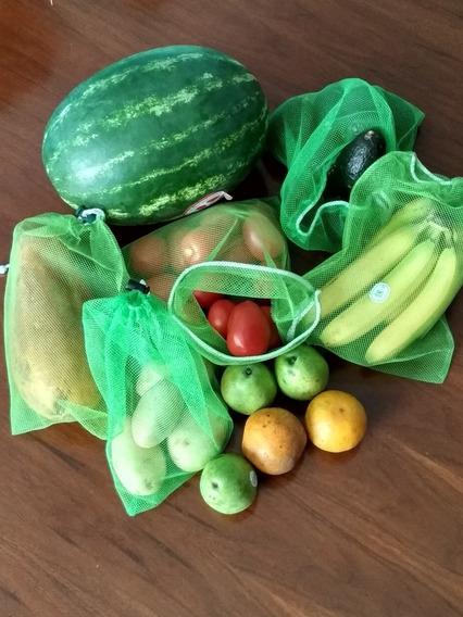 16 Bolsas Reutilizables Ecologicas Tela Frutas Y Verduras