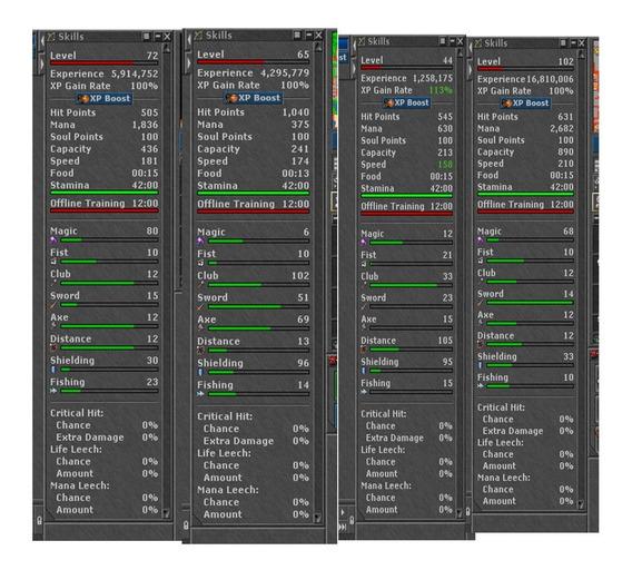 Tibia/ Sorcerer Ml 80 / Ek Skil 102 - 96 / Rp Skill 105 - 95