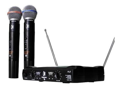 2 Microfonos Inalambricos Vhf Kmi-200