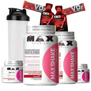 Kit Ganho Muscular Feminino Max Shake 400g+ Colágen 100 Caps