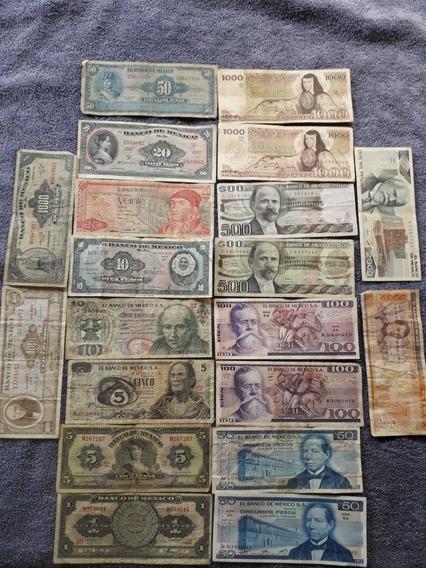 Billetes Mexicanos De 1 Hasta 5000 Pesos (lote 20 Pzas)