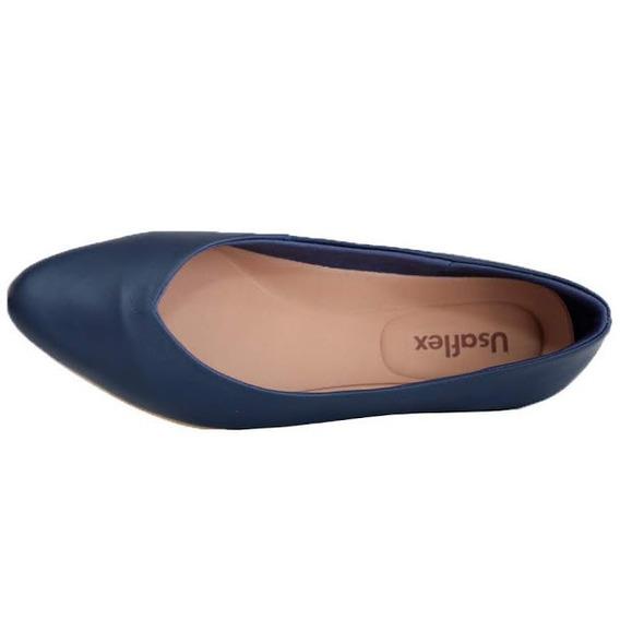 Sapato Feminina Usaflex Bico Fino Laranja 6204