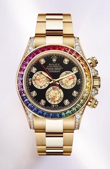 Relógio Rolex Daytona Limitado Semi Cravejado Plaque Ouro