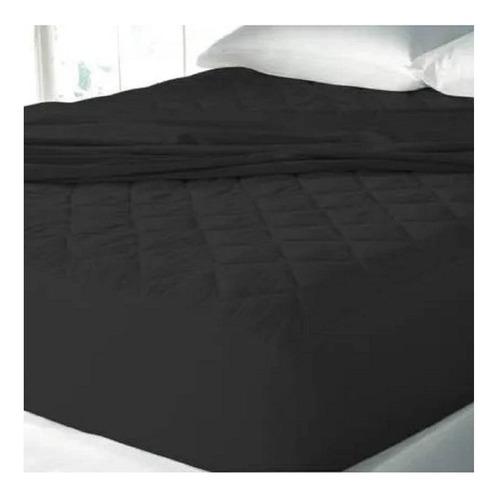 Protector Colchón Acolchado Doble Negro Altura 35cm