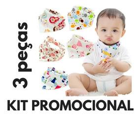 Kit 03 Babadores Bandana Menino Menina Babeiros Para Bebês