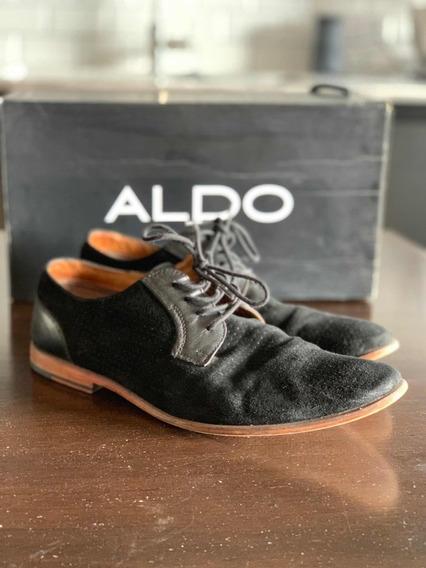 Zapato Hombre Gamuza Negra Y Suela Marrón Micro Perforado !!
