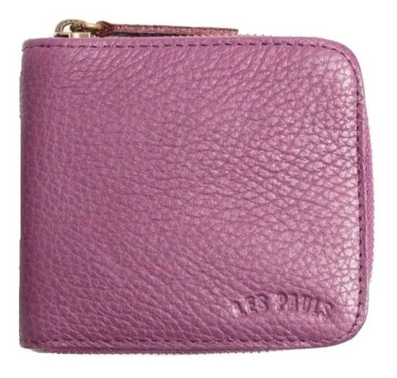 Billetera Les Pauls con cierre violeta graneado cuero